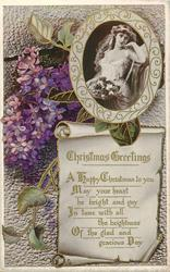 CHRISTMAS GREETINGS  inset of girl, lilacs