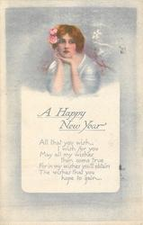 A HAPPY NEW YEAR  girl with chin resting on both hands, white blossom