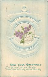 NEW YEAR GREETINGS  inset PURPLE & WHITE HEATHER