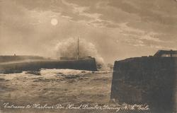 ENTRANCE TO HARBOUR PIER HEAD, DUNBAR, DURING N.E. GALE