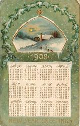 NEW YEAR GREETINGS snowy rural insert above calendar