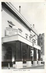 THEATRE ROYAL DRURY LANE  sign advertising MARY MARTIN IN SOUTH PACIFIC, photo taken from right