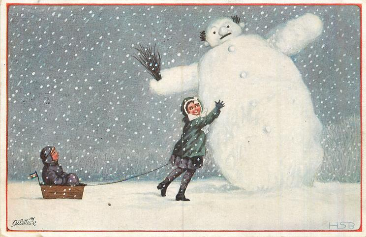 snowman right holding small broom tips left, girl attempts to push him up, boy in sled left