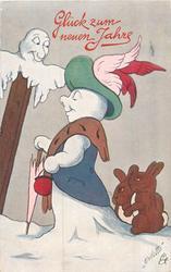 snowwoman walks left, two rabbits behnd