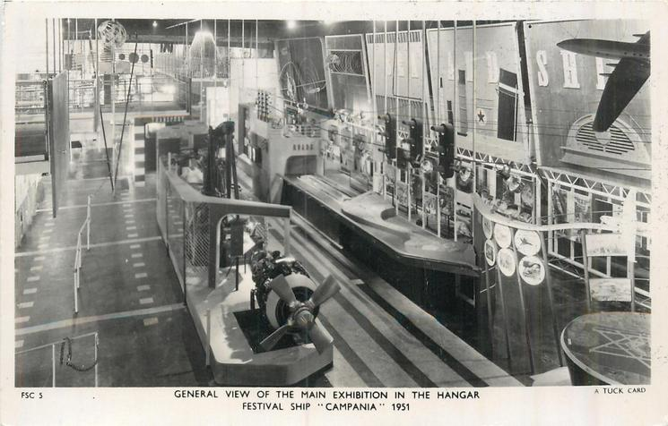 """GENERAL VIEW OF THE MAIN EXHIBITION IN THE HANGER  THE FESTIVAL SHIP """"CAMPANIA"""" 1951"""
