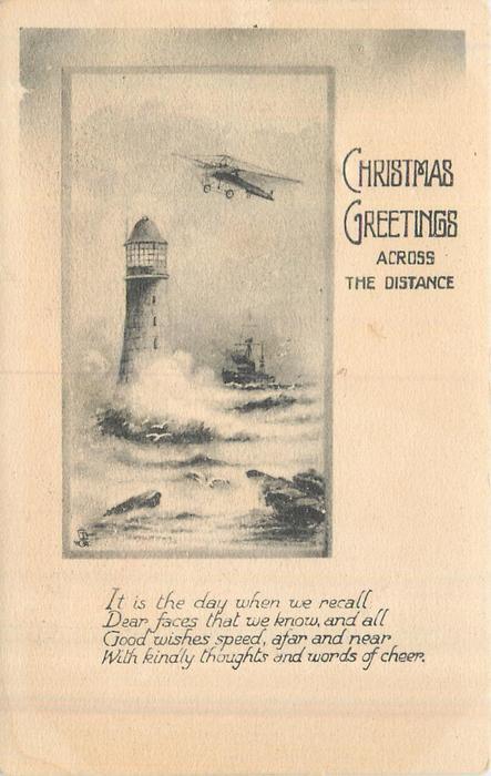 CHRISTMAS GREETINGS ACROSS DISTANCE light house left, plane & ship right