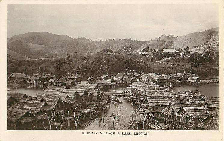 ELEVARA VILLAGE FROM L.M.S. MISSION houses either side of water