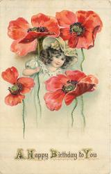 A HAPPY BIRTHDAY TO YOU   girl under  & behind exaggerated red poppies