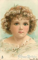 head & shoulders close up of girl with daisies in hair