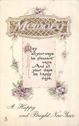 MEMORY in embossed design, violets A HAPPY AND BRIGHT NEW YEAR