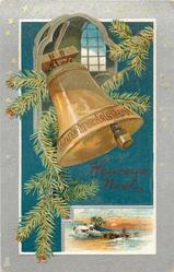 HEUREUX NOEL bell & evergreen below lighted window, snow scene inset below