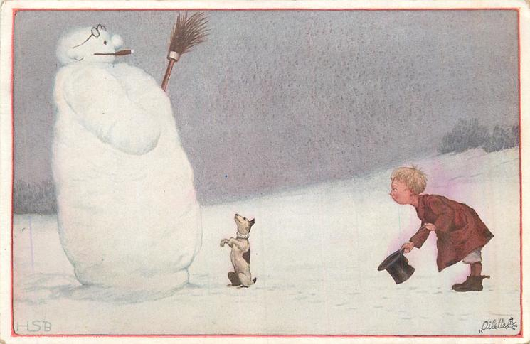 snowman left  is smoking cigar holding broom left, dog sits begging as boy bows doffing hat in salute