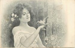 half-length study of woman facing right looking at bird perched on her hand
