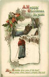 A HAPPY CHRISTMAS TO YOU old woman using walking stick walks front in snow