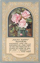 MANY HAPPY RETURNS   inset three pink roses in jug, grey borders