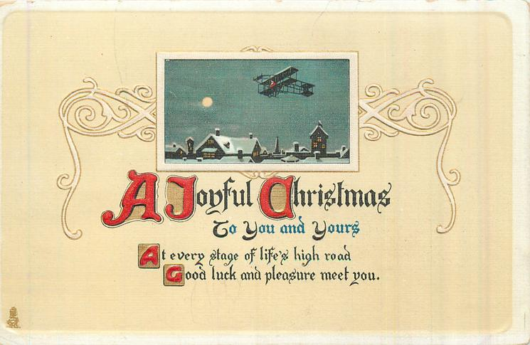 A JOYFUL CHRISTMAS TO YOU AND YOURS night scene with plane over snowy town