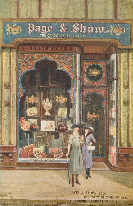 Decorated shop-front with much advertising 2 RUE CASTLIGLIONE, PARIS TELEPHONE- LOUVRE 41-40
