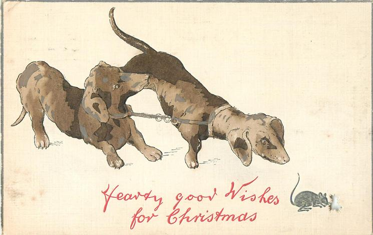 HEARTY GOOD WISHES FOR CHRISTMAS  two dachshunds peer at mouse, hole in card for its escape!
