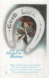 GUID LUCK (on horseshoe) AND GOOD WISHES FOR CHRISTMAS girl with heather