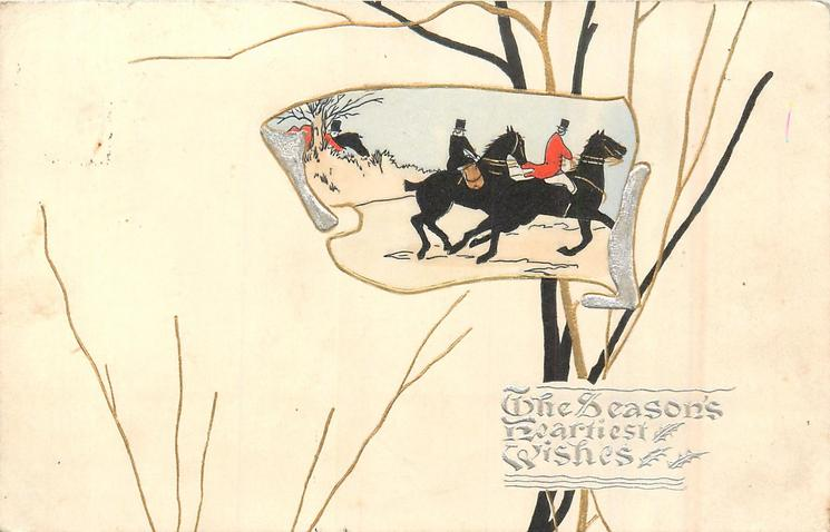 inset to right of card of huntsman & huntswoman riding right fast, white background