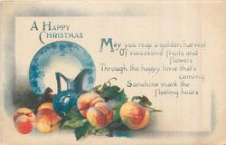 A HAPPY CHRISTMAS, blue china with peaches