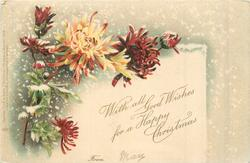 WITH ALL GOOD WISHES FOR A HAPPY CHRISTMAS, chrysanthemums, snow falling