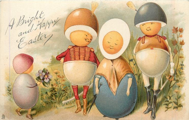 A BRIGHT AND HAPPY EASTER  two Egg-Men, on either side of simpering Egg-Girl, Egg-Child front left
