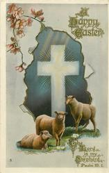 A HAPPY EASTER.white cross, sheep
