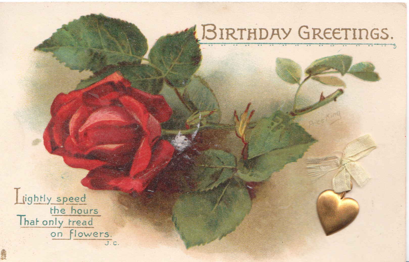 Birthday Greetings Single Red Rose Tuckdb Postcards