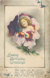LOVING BIRTHDAY GREETINGS  inset flower face in pansy