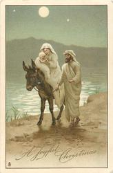 A JOYFUL CHRISTMAS  Mary rides with Jesus on donkey, Joseph alongside