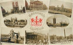 8 insets, WESTMINSTER ABBEY and MANSION HOUSE and ST. PAUL'S and TOWER OF LONDON and HOUSES OF PARLIAMENT and THE TOWER BRIDGE and THE BANK and TRAFALGAR SQUARE