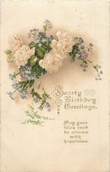SEARTY (?Tuck error for HEARTY) BIRTHDAY GREETINGS  white roses & blue forget-me-nots