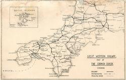 GREAT WESTERN RAILWAY MAP OF THE CORNISH RIVIERA....
