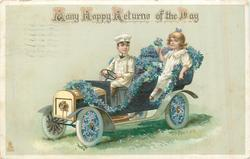MANY HAPPY RETURNS OF THE DAY GIRL girl being driven left in forget-me- not covered car