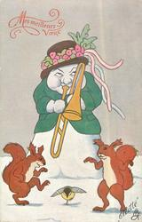 snowwoman plays trombone, two squirrels & bird dance to it