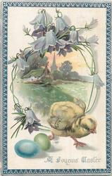 A JOYOUS EASTER  chick runs lower right, blue & green eggs, rural inset framed by purple harebells