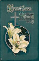 EASTER PEACE  Easter lilies, deep green background