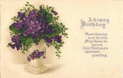 A HAPPY BIRTHDAY   vase of violets