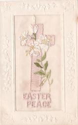 EASTER PEACE embroidered Easter lilies & cross