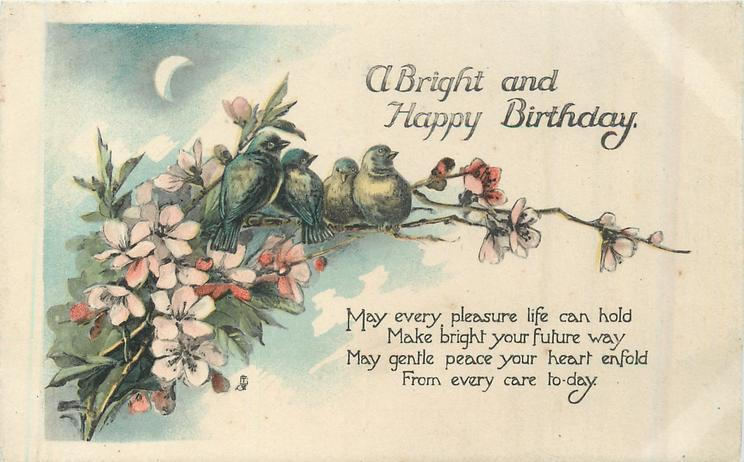 A BRIGHT AND HAPPY BIRTHDAY  four blue-birds on blossom branches