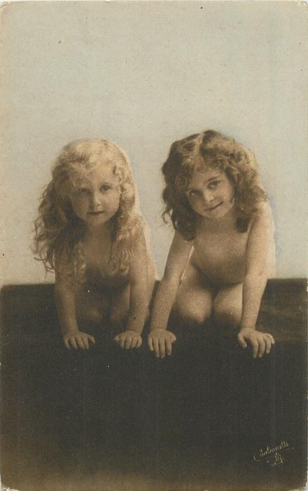 two nude children kneel & crawl forward