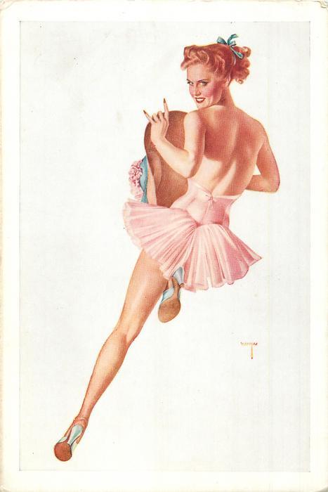 girl in pink facing away looking back over her shulder
