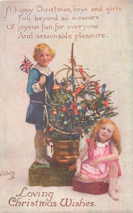 LOVING CHRISTMAS WISHES boy & girl on each side of Xmas tree