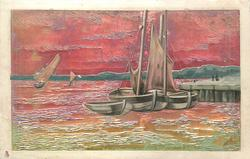 very shiny, metallic painted card with 2 sailing boats & dingy beached, red sky & green /red water