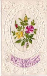 BIRTHDAY GREETINGS embossed ovular inset with roses