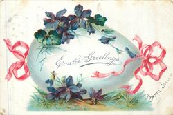 EASTER GREETINGS  egg decorated with violets & pink ribbon