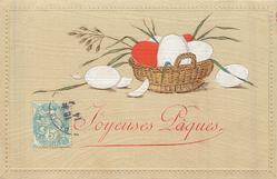 coloured Easter eggs in basket