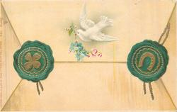 white bird flies left with forget-me-nots, green & gilt seals either side