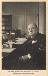 DE VERY HONOURABLE WINSTON S. CHURCHILL EERSTE-MINISTER VAN GROOT- BRITTANNIE half length study, seated at desk